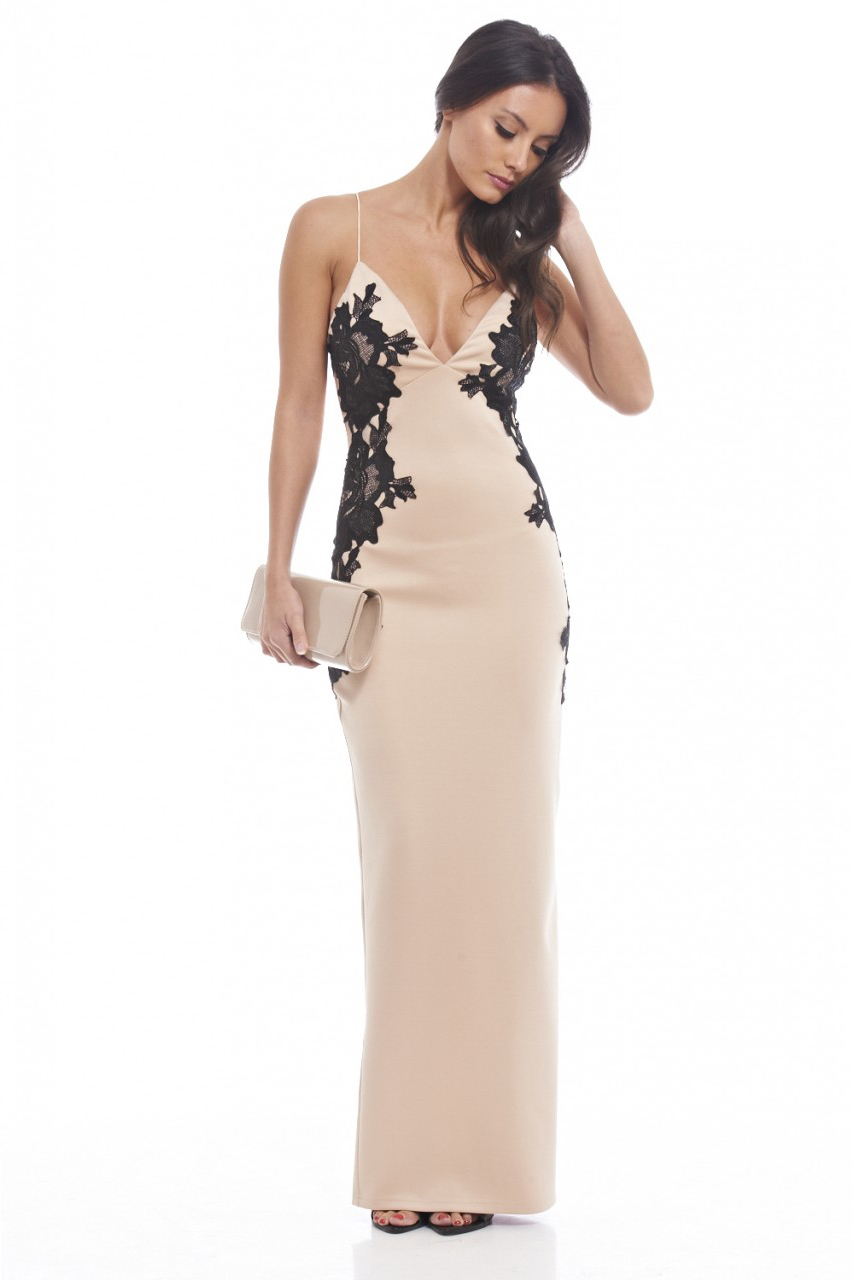 dfb1b467547 chic maxi φόρεμα με πλαϊνά δαντέλα
