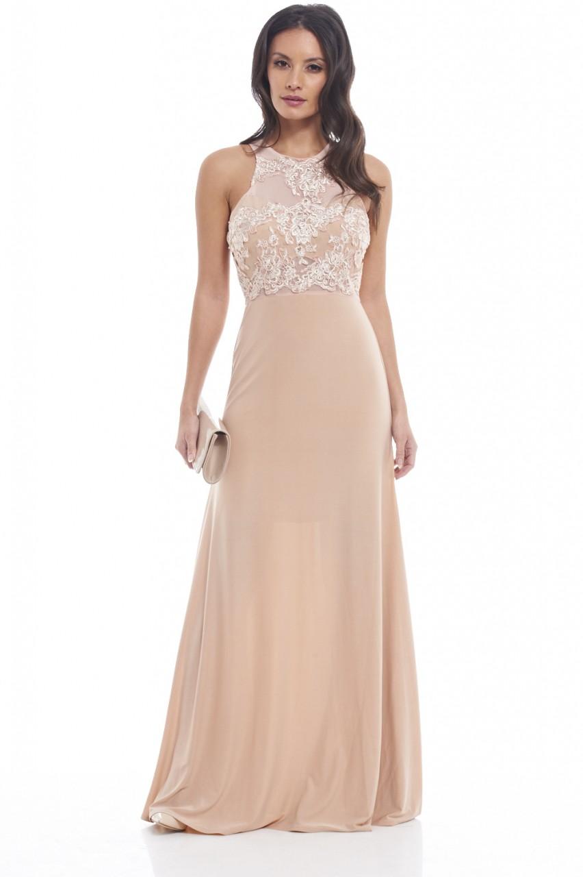 empire minimal δαντέλα maxi φόρεμα σε nude 5ee8f4df9c9