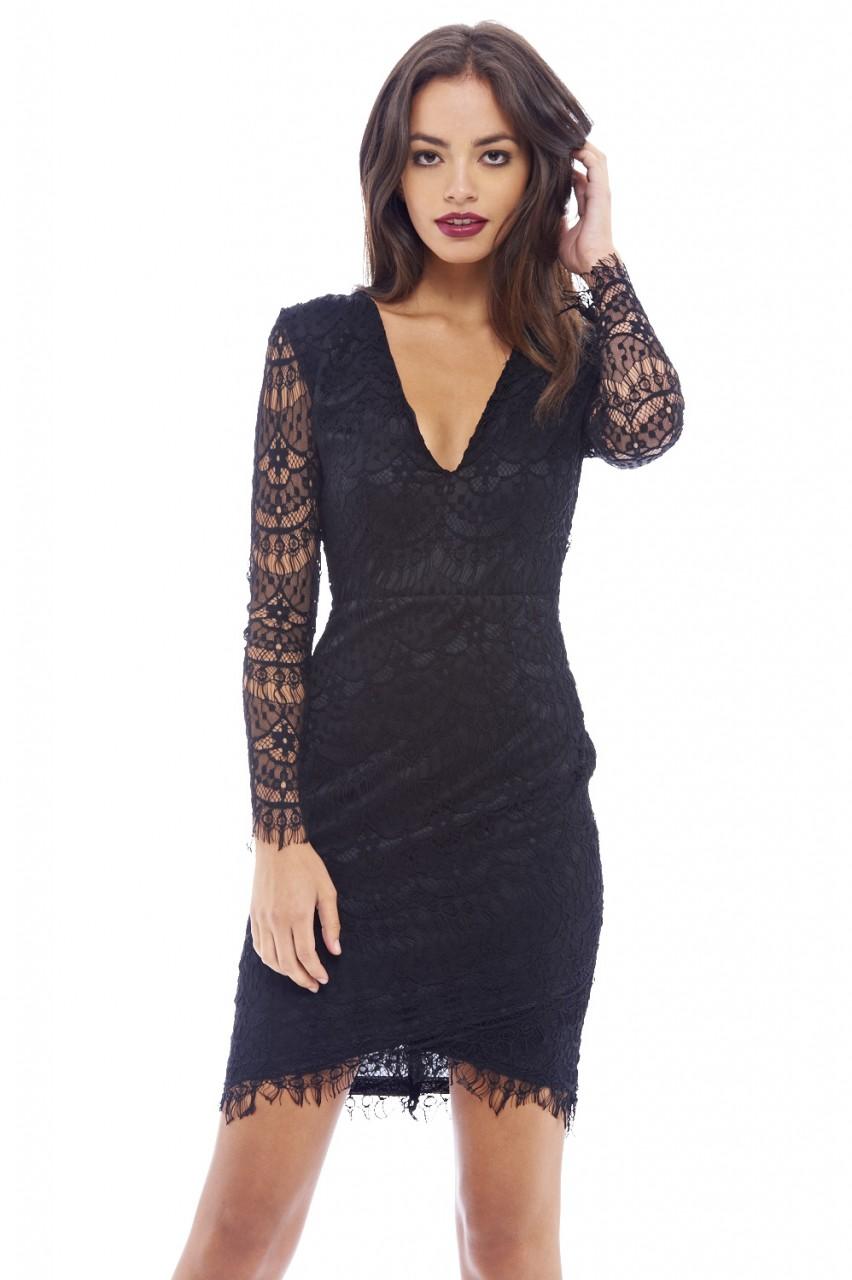 μαύρο V φόρεμα δαντέλα chantilly 22b1607fb8e