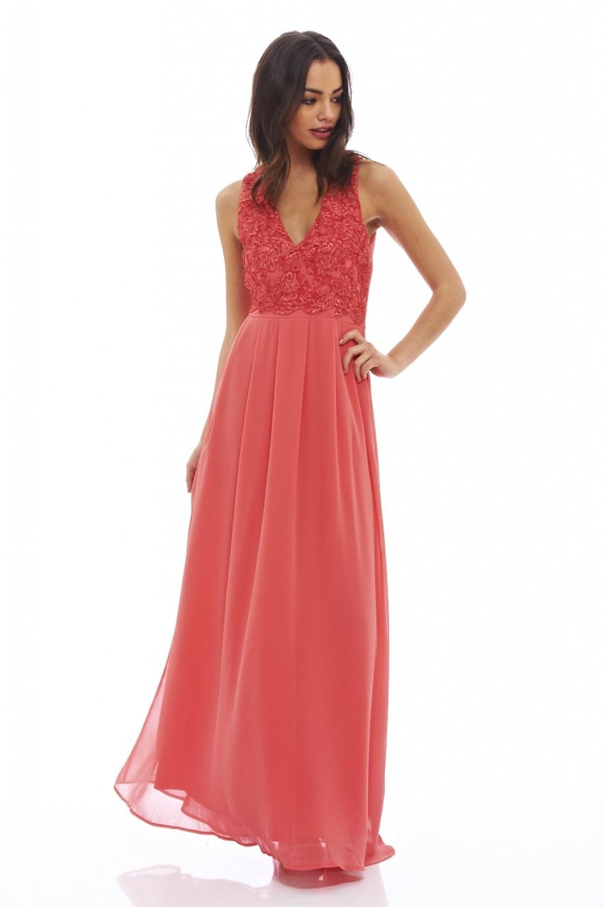 7ded5b34e4ec romantic maxi αέρινο φόρεμα σε κοραλί