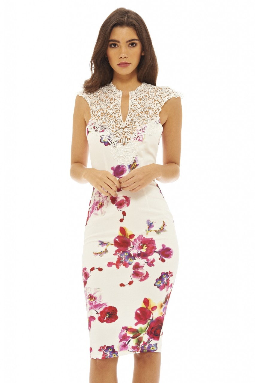 34f7c132302e romantic floral V κροσέ cocktail φόρεμα