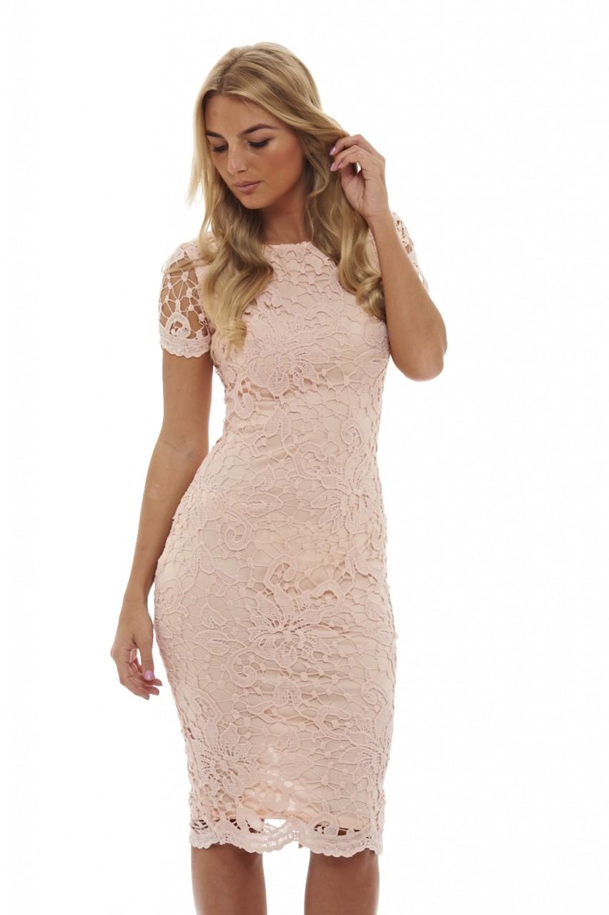 feminine nude midi φόρεμα δαντέλα 2158cf87ef8