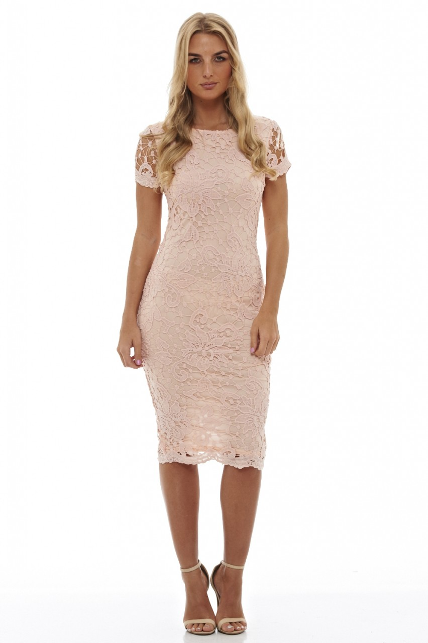 feminine nude midi φόρεμα δαντέλα 2703c05e799