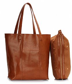 oversized real leather tote τσάντα σε ταμπά