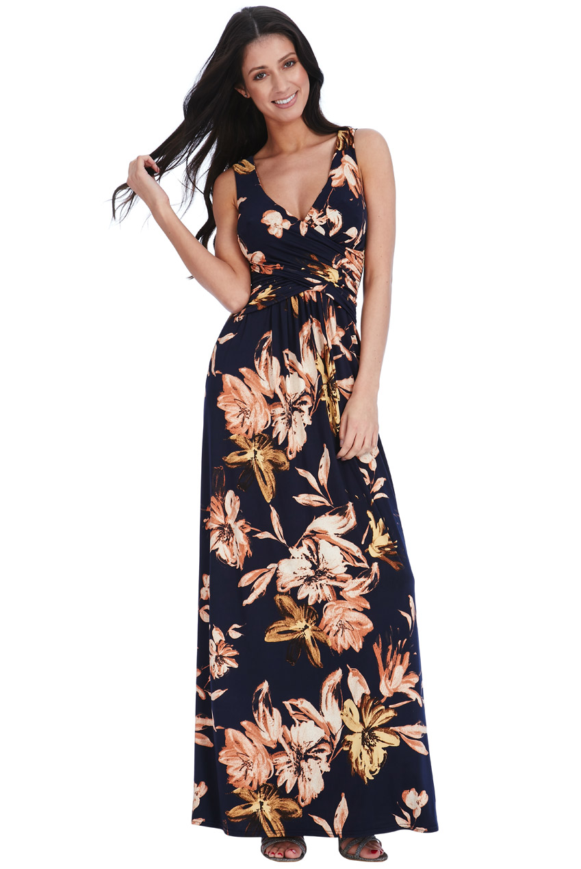 245919294647 terra floral maxi φόρεμα V κρουαζέ
