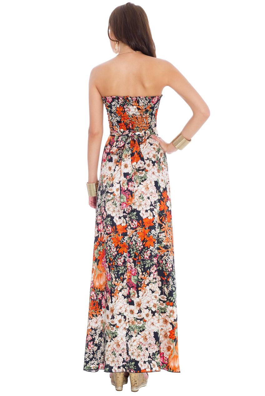 d5d6e5b72203 floral satin καλοκαιρινό στράπλες φόρεμα