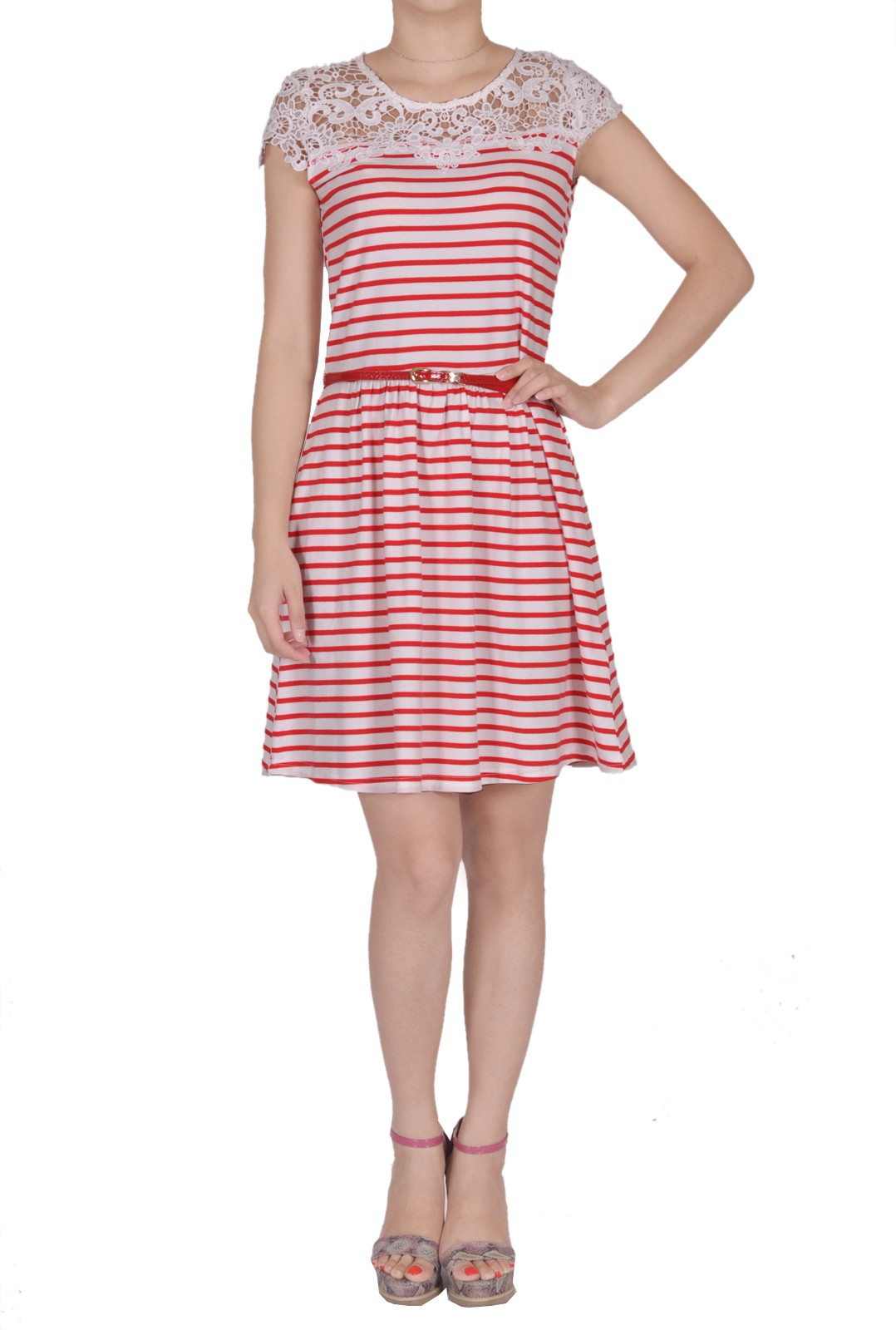 5b7d229f7913 cute φόρεμα κροσέ nautical ριγέ σε κόκκινο/εκρού