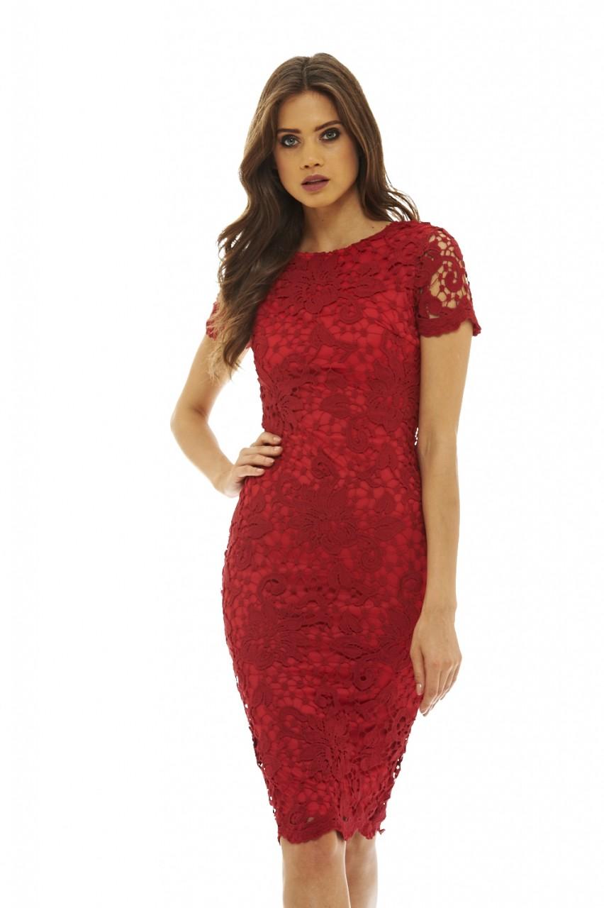 004cc4bdc942 feminine κόκκινο midi φόρεμα δαντέλα