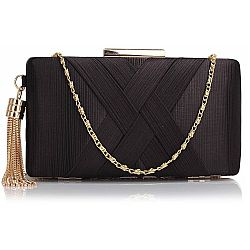 sophisticated golden chain clutch σε μαύρο