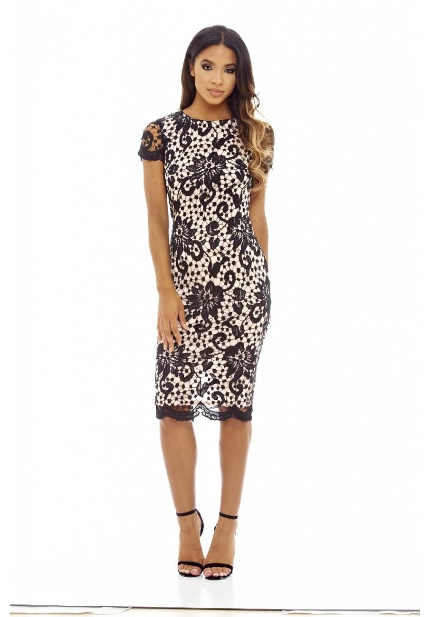 feminine μαύρο blush φόρεμα midi δαντέλα 7ef7302939d