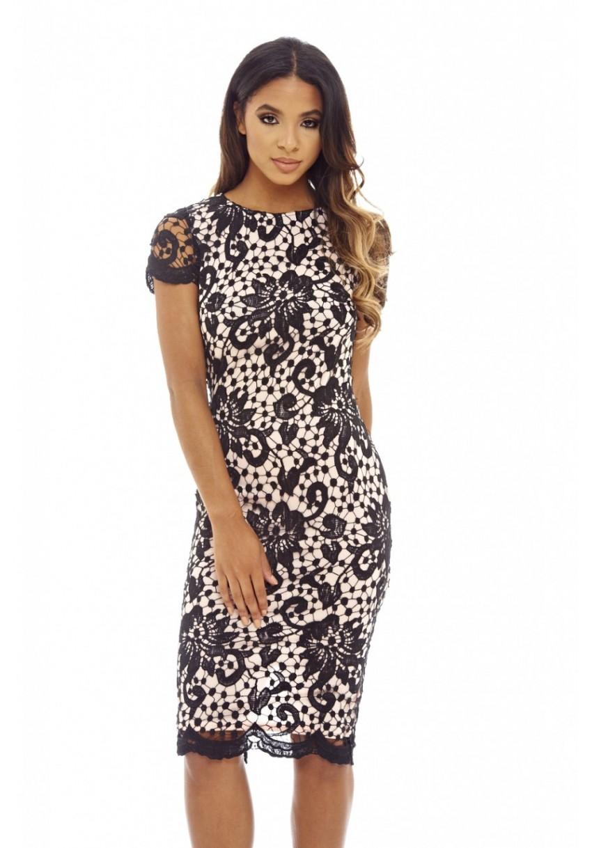 84dd3223e995 feminine μαύρο blush φόρεμα midi δαντέλα