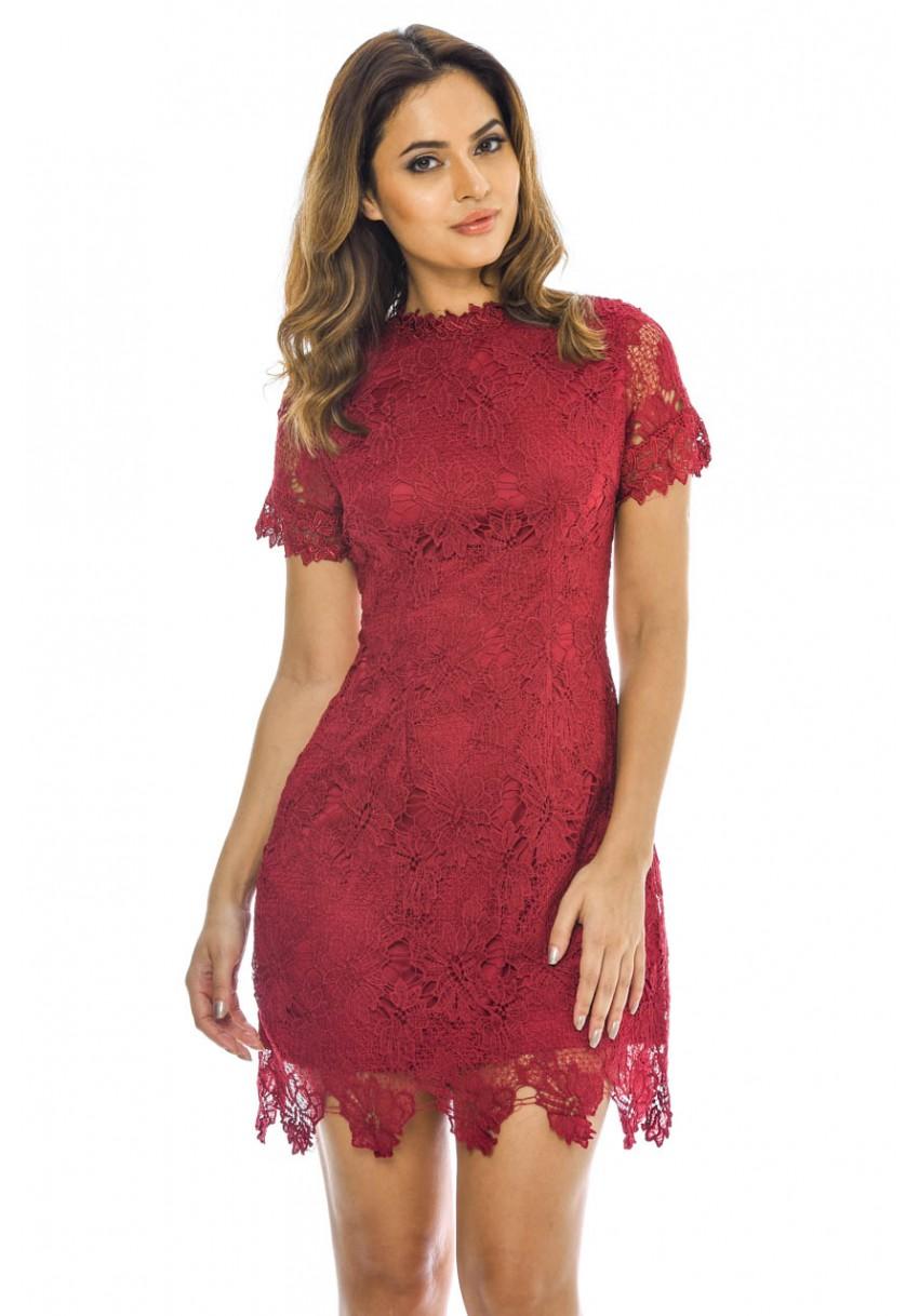 18ded9383333 wine delicate κροσέ φόρεμα δαντέλα