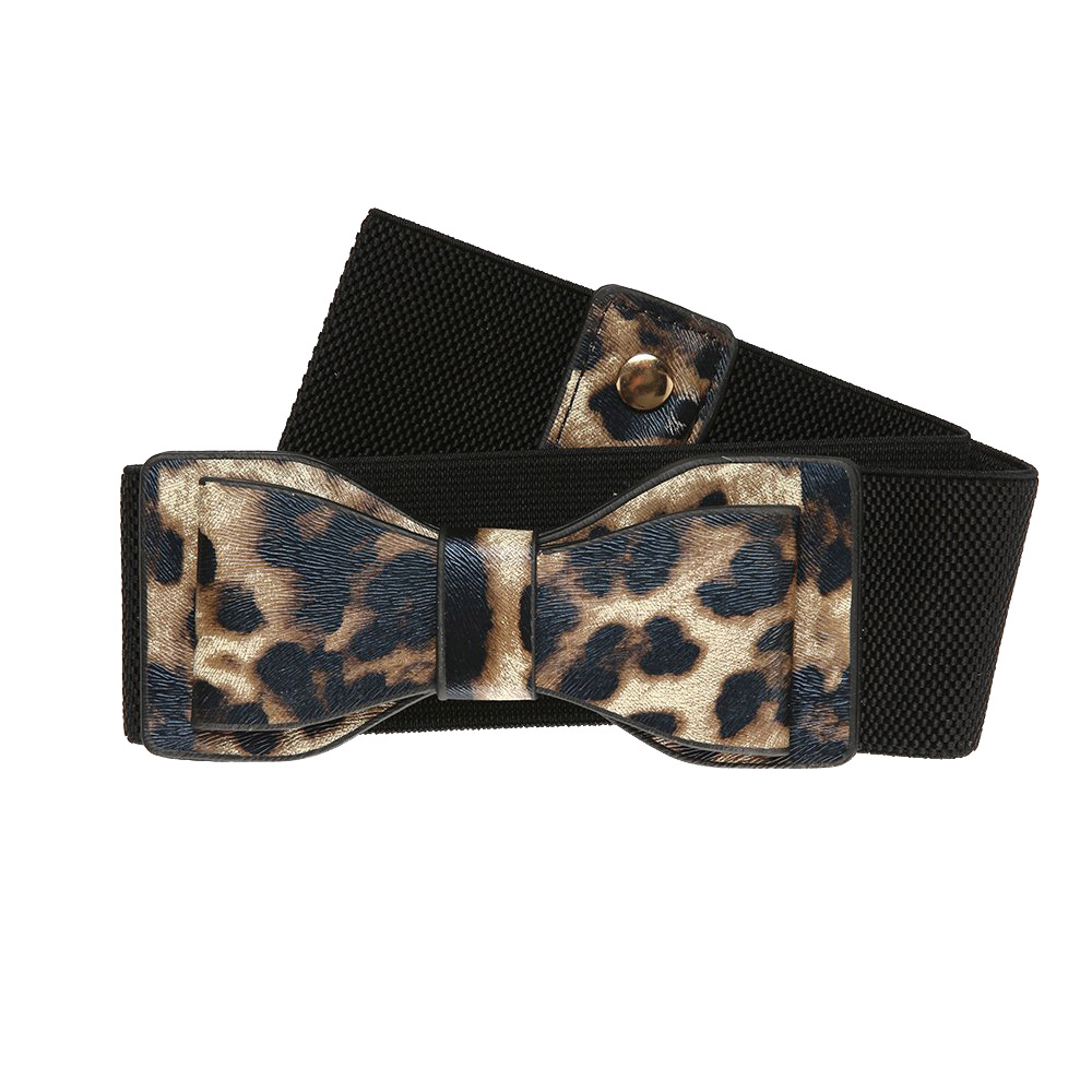 vintage ζώνη elastic leatherette ribbon με animal print