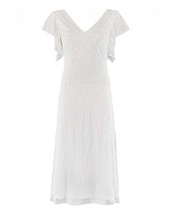 vintage bridal 30s φόρεμα silver screen crystal white