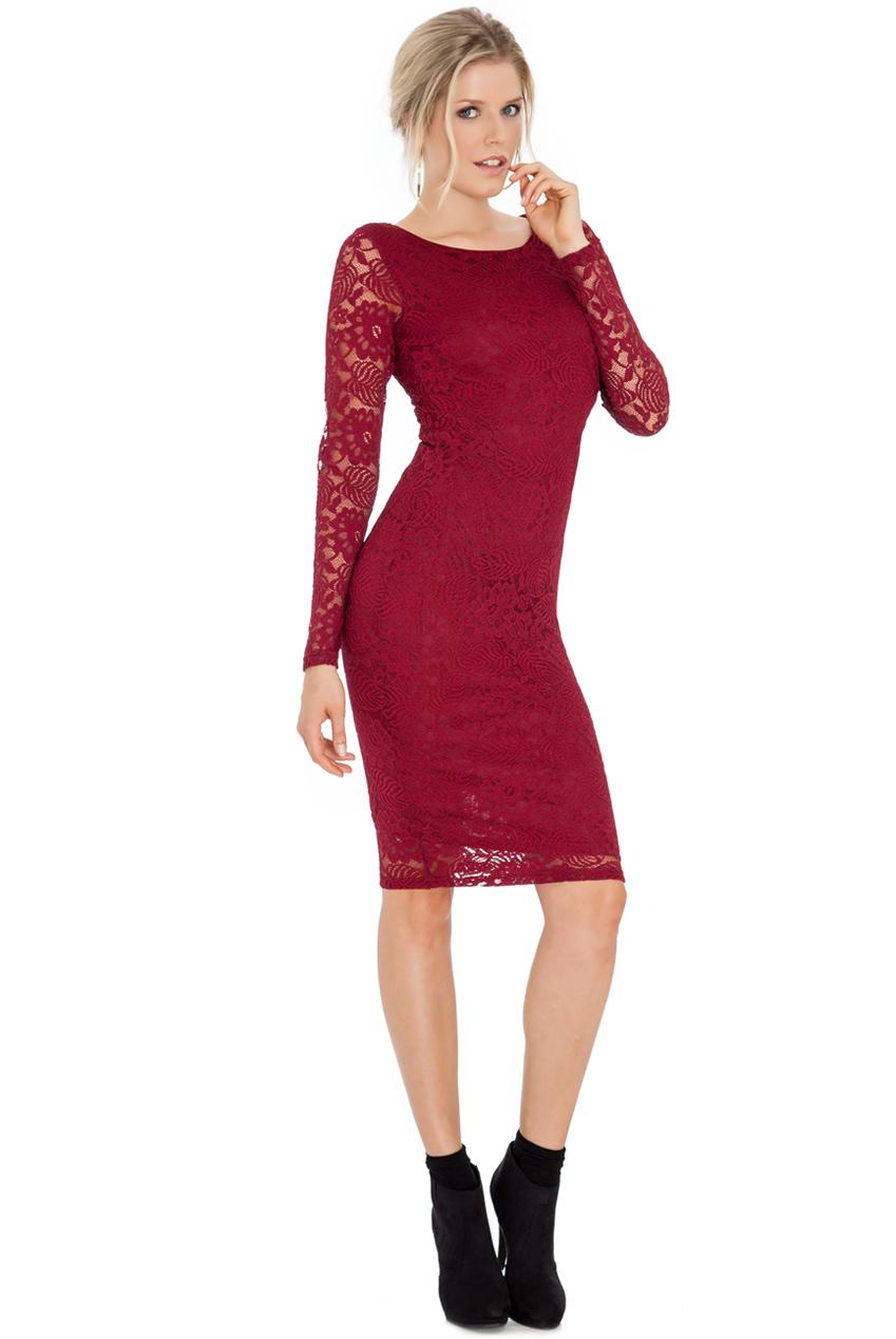 classic bodycon φόρεμα δαντέλα σε μπορντώ wine 34fb0d03c69