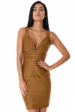 celebrity sexy bodycon φόρεμα gold caramel crystal