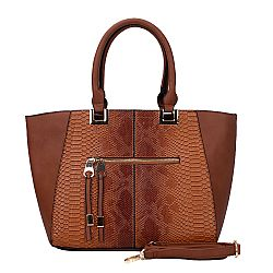 ultra chic tabac snakeskin tote τσάντα