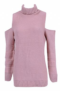 casual chic πλεκτό cold shoulder σε sweet pink