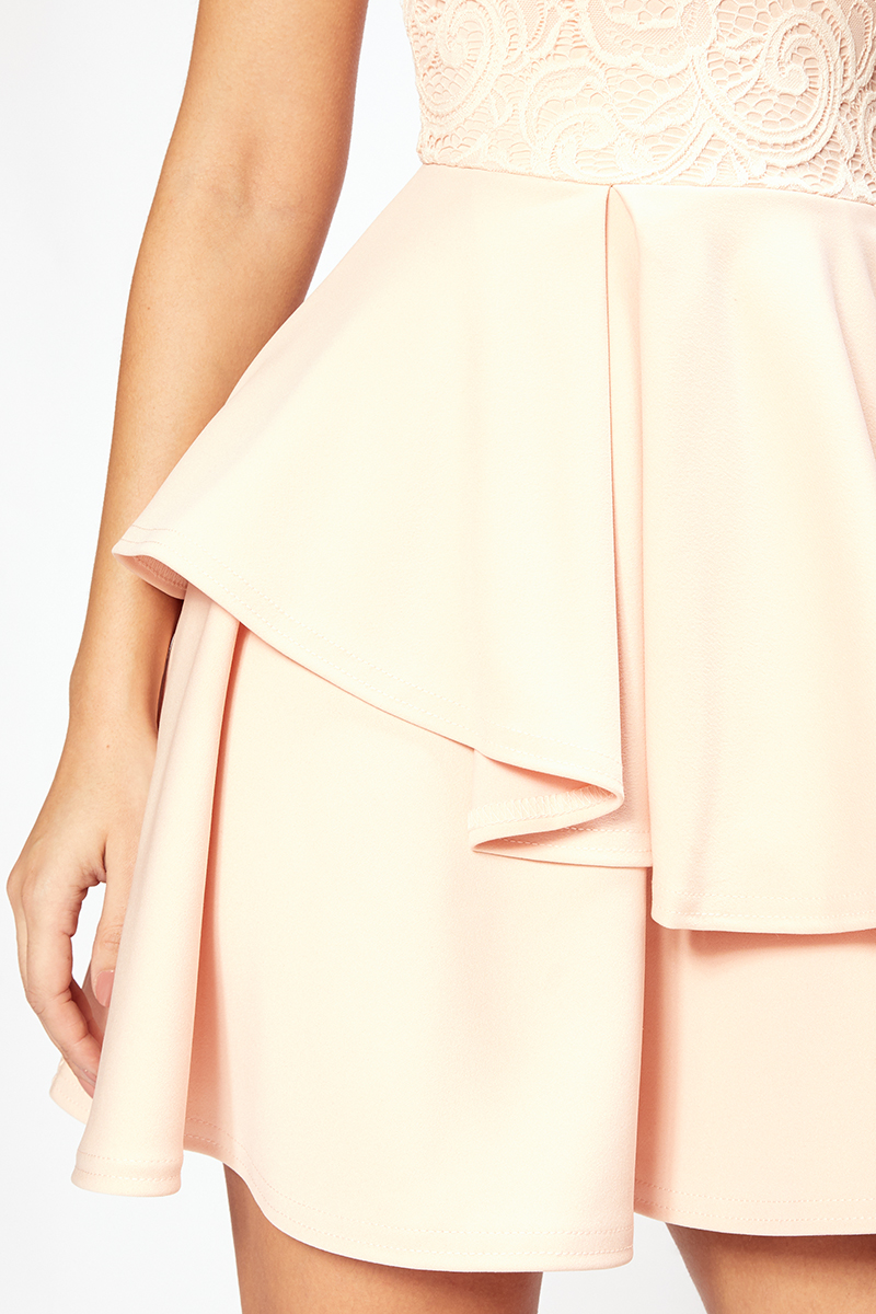 romantic double peplum φόρεμα Sarah σε nude