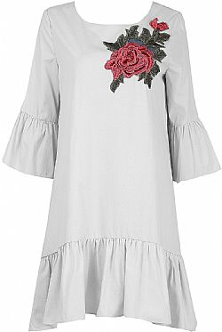 3d rose 70s tattoo kaftan φόρεμα