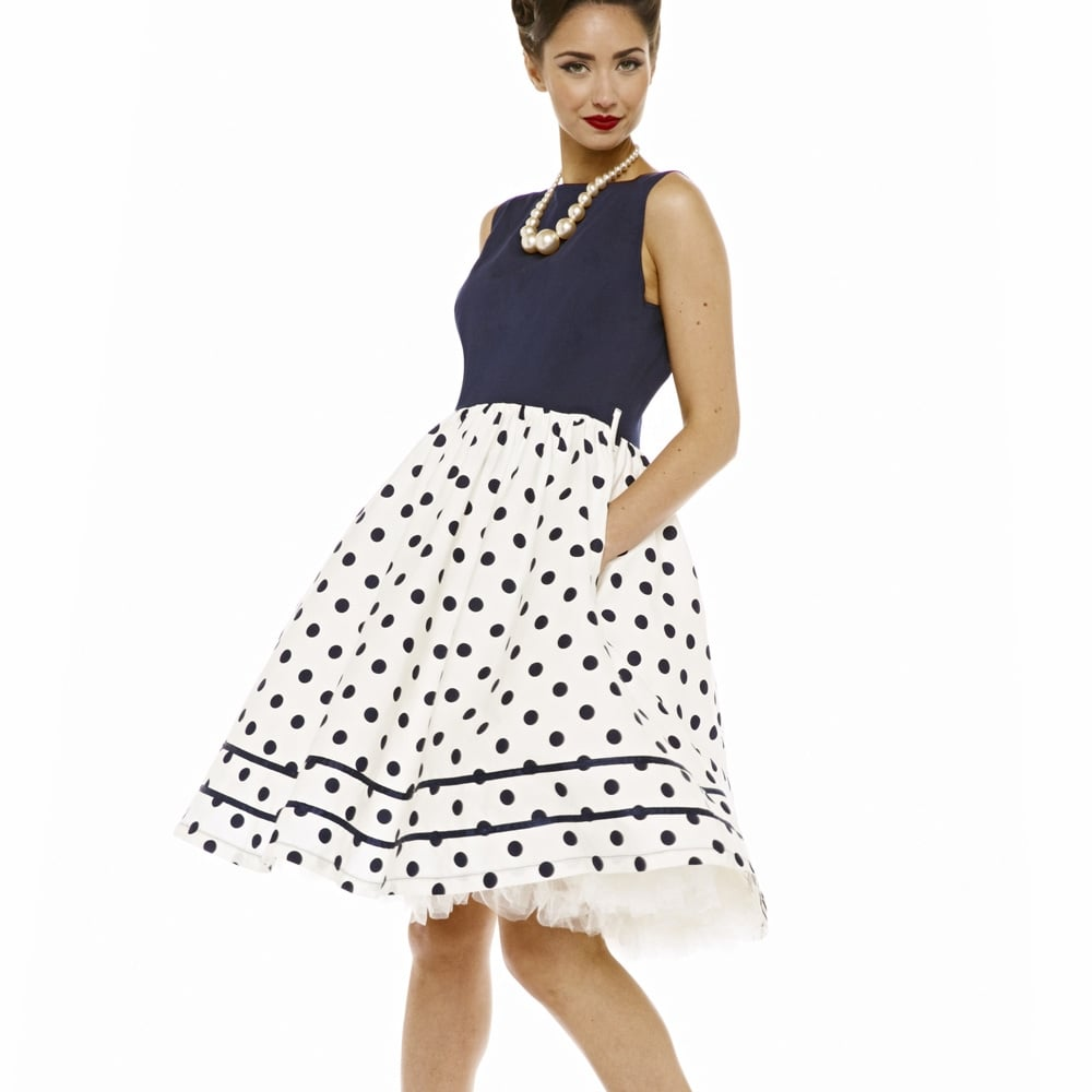 5775ef7b217 vintage iconic φόρεμα μπλε navy πουά Audrey
