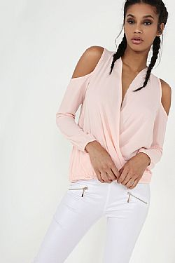 sophisticated κρουαζέ top σε dusky pink