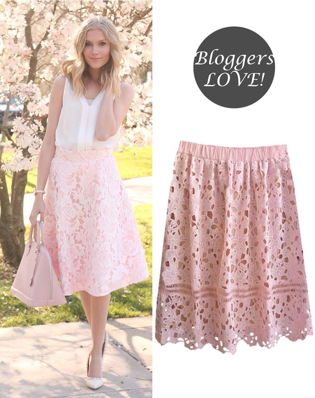 chic crochet midi φούστα σε ροζ blush nude 5577ac7bc1f