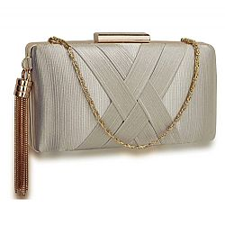 sophisticated golden chain clutch σε ασημί
