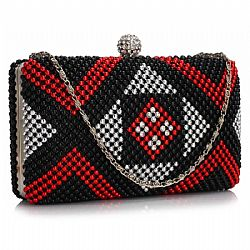 aztec glam βραδινό clutch σε metallic red