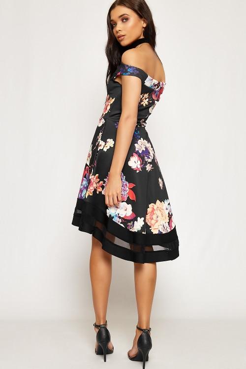 fb8b5918773a high low floral φόρεμα Debby σε μαύρο