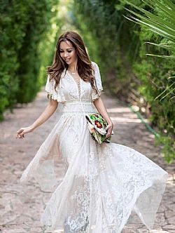 boho couture lace maxi bridal φόρεμα