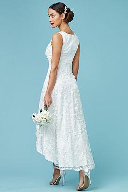 romantic bridal φόρεμα high low 3d δαντέλα ... 28556e65855