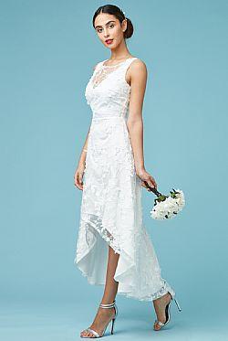 ... romantic bridal φόρεμα high low 3d δαντέλα 1bbc341ae5a