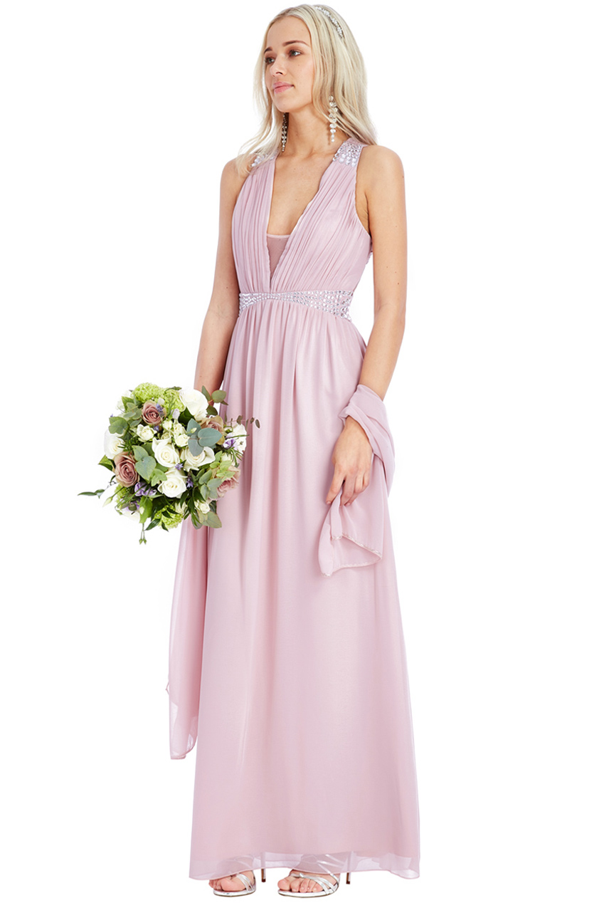 82ea7df401f empiral diamond αέρινο maxi φόρεμα σε ροζ poudre