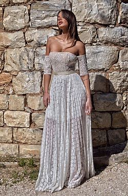 bohemian lace patch plisse bridal φόρεμα