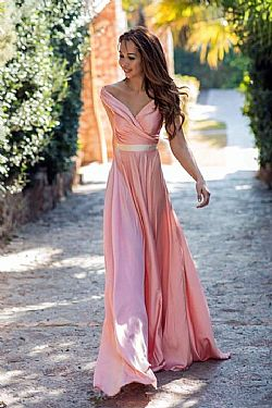 romantic bridal satin maxi bardot φόρεμα