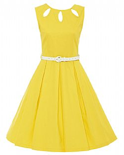 vintage φόρεμα cut out slits Lilian yellow