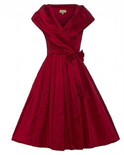 vintage φόρεμα chic taffeta 50s fire red