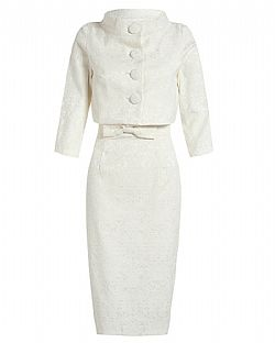the ultimate pencil Jackie O style twinset σε ivory