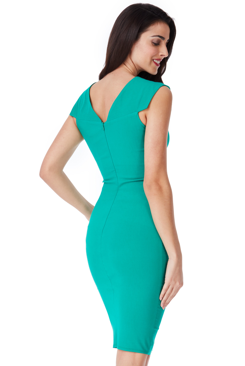 business chic φόρεμα πιέτες σε πράσινο emerald 2877d3efc56