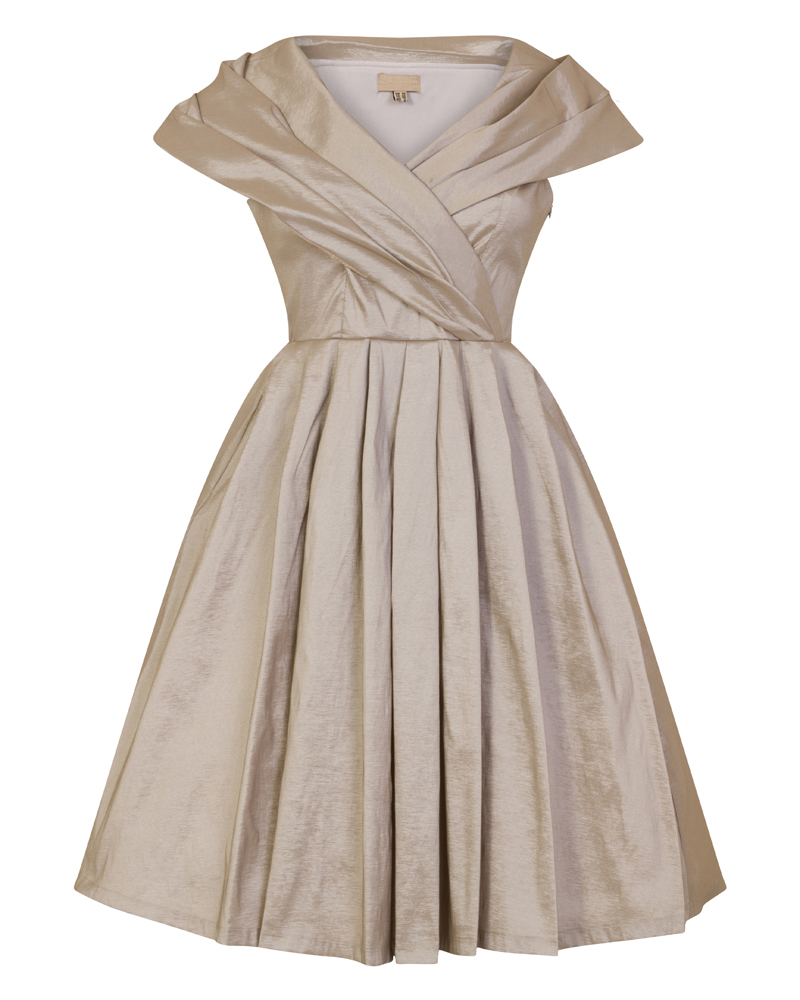 36bc0e486837 vintage φόρεμα chic taffeta silver 50s
