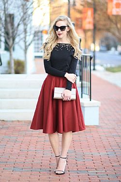 blogger full skirt vintage φούστα σε burgundy