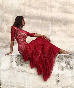 ruby red fairytale maxi φόρεμα fine δαντέλα