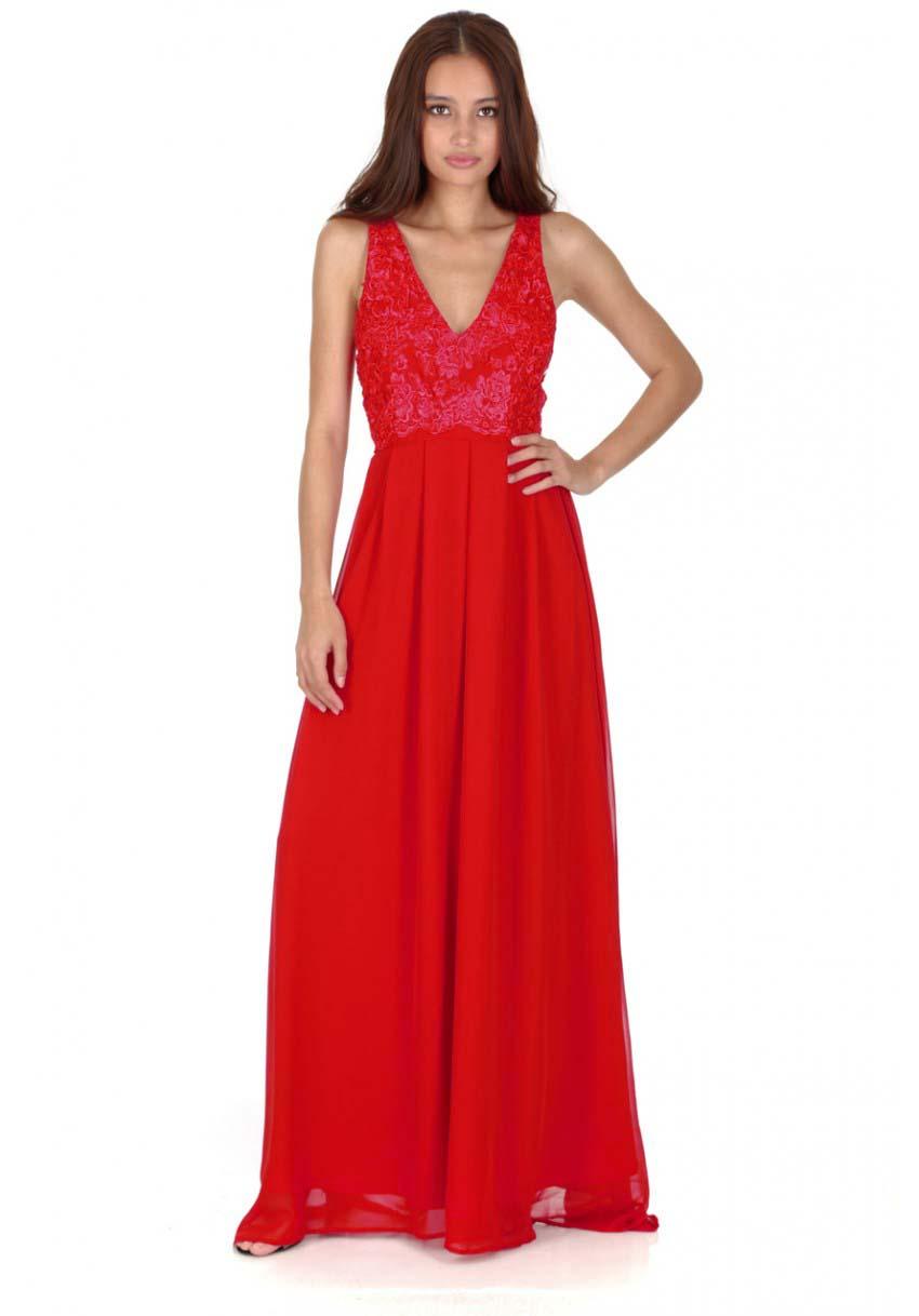 59850a37565 αέρινο maxi φόρεμα δαντέλα σε classic red