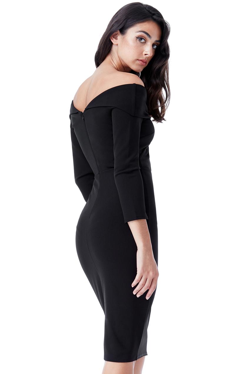chic bardot μαύρο φόρεμα twist κόμπος 8a7bc58784a