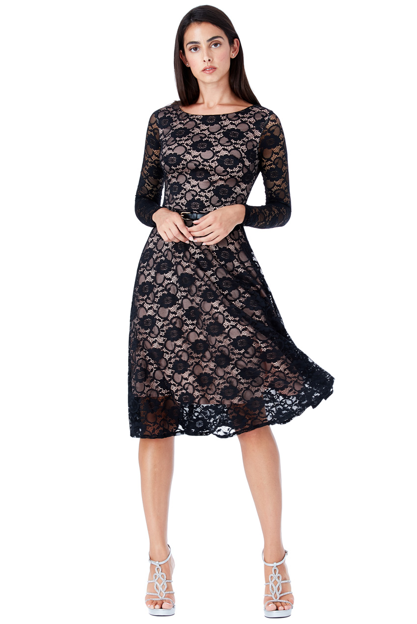 b04b9b039f03 timeless chic midi φόρεμα δαντέλα κλος σε μαύρο nude