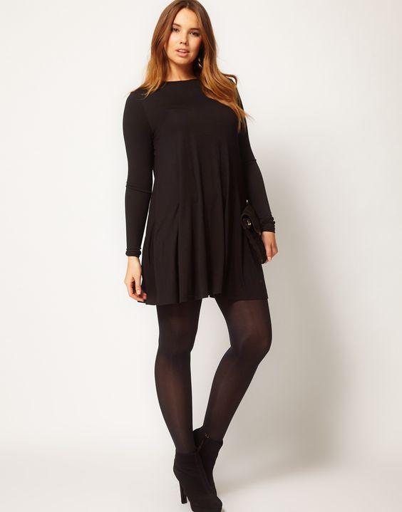 ef6b6a81abc1 plus size basic φόρεμα swing τουνίκ σε μαύρο