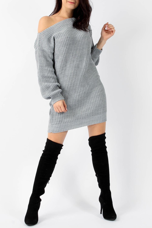 blogger loose γκρι μακρύ πλεκτό φόρεμα τουνίκ c36d04fea1b