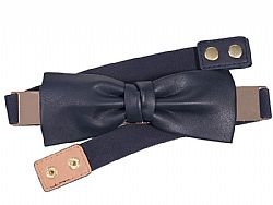 ζώνη metal elastic leatherette bow σε navy