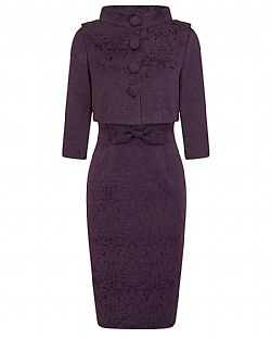 the ultimate Jackie O style twinset σε μελιτζανί plum